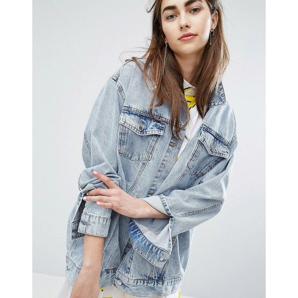 Cheap Monday Girlfriend Denim Jacket ($120) ❤ liked on Polyvore featuring outerwear, jackets, blue, blue jackets, blue jean jacket, skull jacket, longline jacket and tall denim jacket