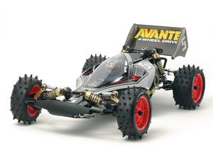 The Tamiya R/C Black Special Avante in 1/10 scale is the latest in the off road radio controlled buggy series of Tamiya re-releases.    The Tamiya Avante was re-released in early 2011. The original R/C kit was released in 1988. To commemorate 35 years in producing Radio Control products, this version of Tamiya's Avante (2011) off-road buggy now comes as a limited edition Black Special.