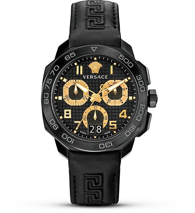 Versace Italian-Style Swiss Made Watch, 44mm - This sporty Versace chronograph features a black tone ion-plated stainless steel case and top ring with a tachymeter scale. The black metallic dial is embossed with the signature Medusa and logo at 12 o'clock. A black leather strap with a Greek key pattern completes the look. Black tone ion-plated stainless steel/anti-reflective sapphire crystal/leather strap Case diameter: 44mm Water resistant to 5 ATM Deployment clasp Ronda 8040B chronograph…