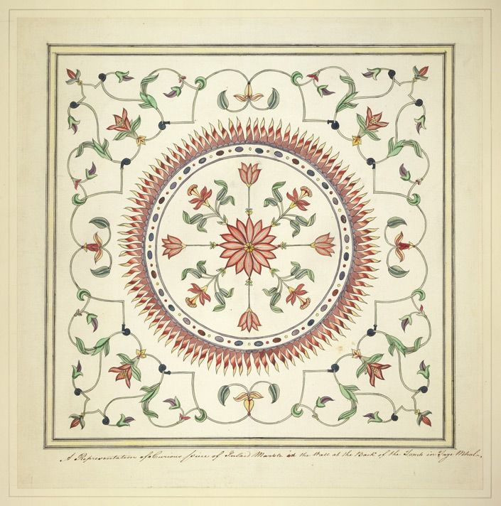Detail of pietra dura work in the Taj Mahal, Agra in Uttar Pradesh. Description from bl.uk. I searched for this on bing.com/images
