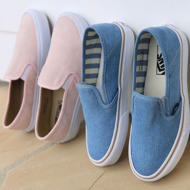 Pink or Blue? The Slip-On SF in Dusty Rose & Light Denim.