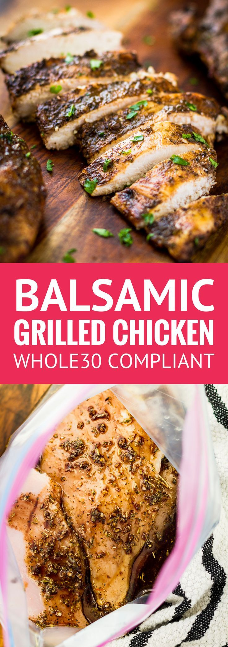 Juicy Balsamic Grilled Chicken -- this balsamic grilled chicken recipe makes the most juicy and succulent boneless skinless breasts EVER with just 4 ingredients and 30 minutes of marinating time! And it's Whole30 compliant... | balsamic grilled chicken marinade | healthy balsamic grilled chicken | whole30 balsamic grilled chicken | whole 30 chicken marinade | whole30 grilled chicken | find the recipe on unsophisticook.com #whole30 #whole30recipes #mealprep #chickenrecipes