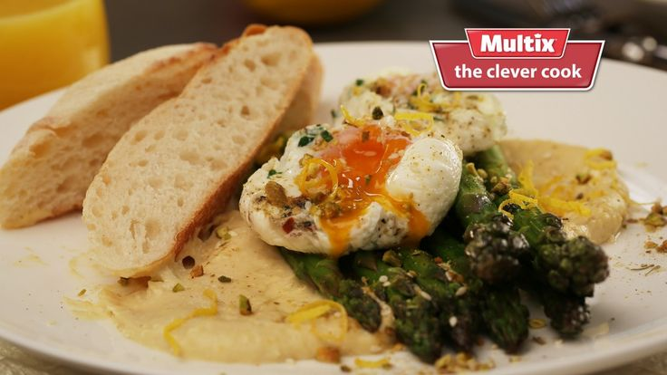 Got time for a leisurely breakfast this Sunday? Watch the video to learn a new clever way to add flavour from herbs to your poached eggs as they cook. Slow cooked eggs with asparagus hummus and dukkah