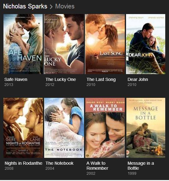 Nicholas Sparks movies! Love them!
