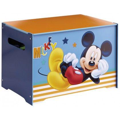 Coffre à jouets Mickey en bois idéal pour le rangement dans la chambre de votre enfant. Coffre très pratique: s'ouvre facilement et se déplace facilement grâce aux passes mains.  #CoffreJouet #Rangement