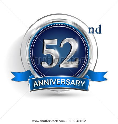 Celebrating 52nd anniversary logo, with silver ring and blue ribbon isolated on white background.
