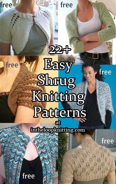 Knitting patterns for Easy Shrugs. Most patterns are free. These shrugs are…