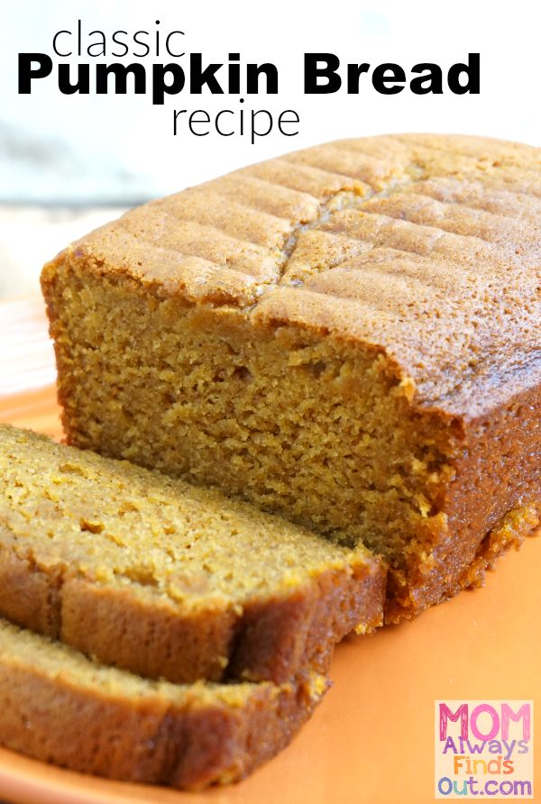 Everyone loves this classic pumpkin bread recipe made with canned pumpkin, cinnamon and spices. The recipe bakes two 8x4 loaves and freezes well.