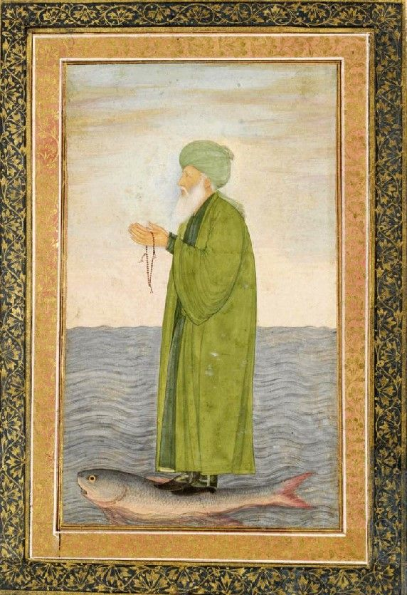 Small Clive Album p. 23, Khwaja Khizr Khan, opaque watercolour and gold on paper, Mughal, mid 17th century