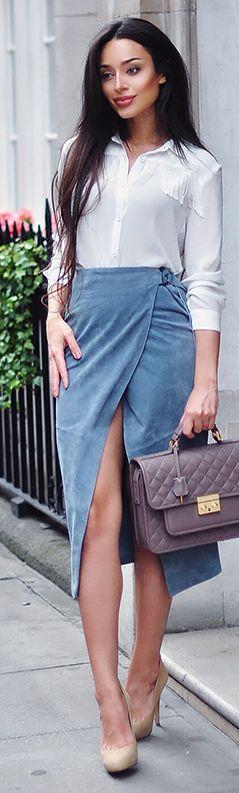 .Blue Suede Pencil Skirt. Pinterest: @VanDometa