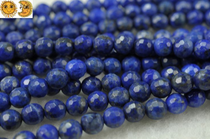 15 inch strand of Lapis lazuli faceted(128) round beads 6mm