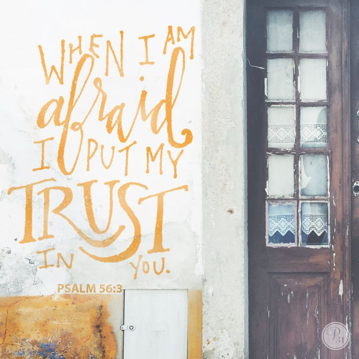 """When I am afraid I put my trust in You."" - Psalm 56:3 