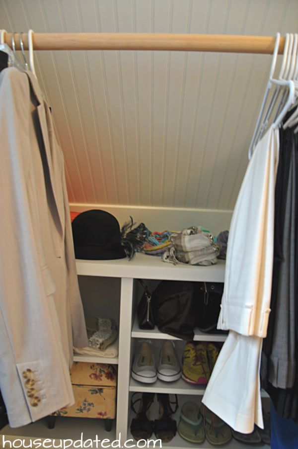 Sloped ceiling storage upper floor pinterest sloped - Storage ideas for clothes in small bedroom ...