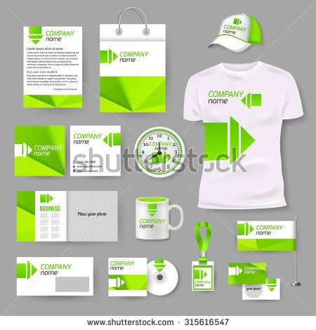 White corporate identity template with green elements. Vector company style for brandbook and guideline. Watch, T-shirt, cap, flag, package and Documentation for business.