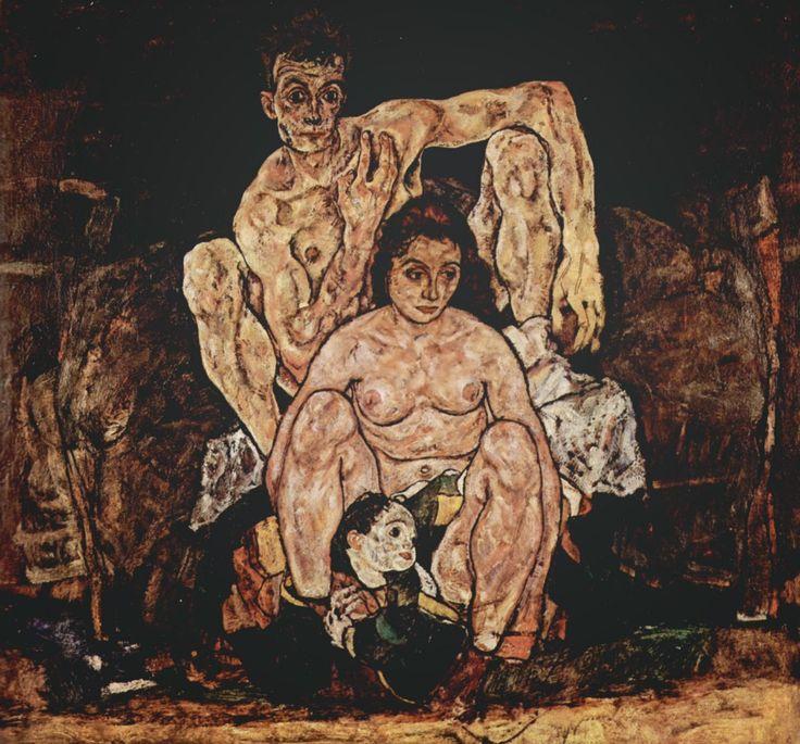 «Семья» — его последняя работа, в которой отчаяние доведено до абсолюта, несмотря на то что это наименее странно выглядящая его картина. Художник нарисовал ее перед самой смертью, в 28 лет, после того как от испанки умерла его беременная жена Эдит. На полотне изображен сам автор, его жена и их так и не рожденный ребенок.