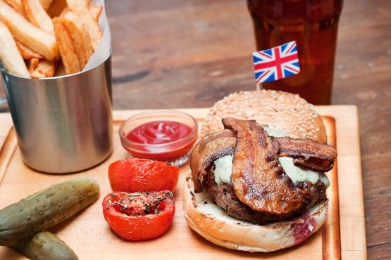 Cheeseburger (debragga dry aged beef) with stilton at Jones Wood Foundry
