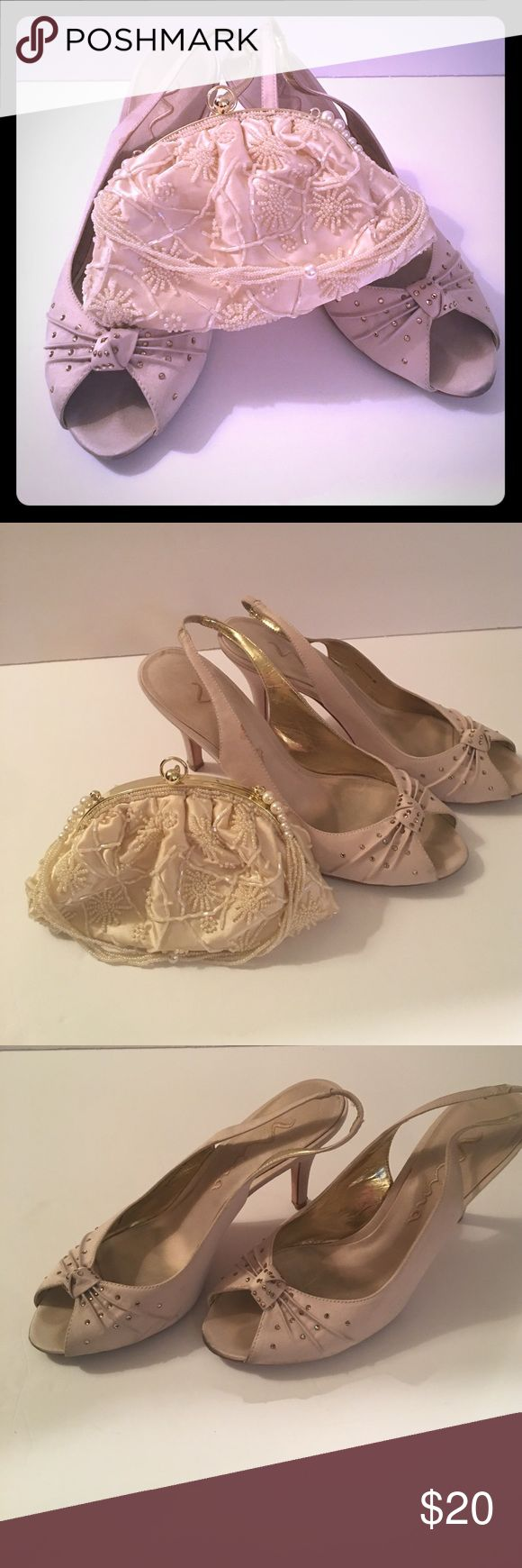 CHAMPAGNE COLORED NINA FLO POWDER HEELED SANDAL! Loved Nina champagne colored heeled sandal with Amber crystal accents!!! As well as a sensual cream toned HANDBAG perfect for any high fashion event! GREAT PRICE!!! Nina Shoes Heels