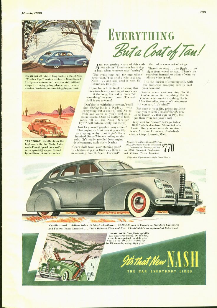 Vintage Ad Car Nash 1939 in Esquire Magazine