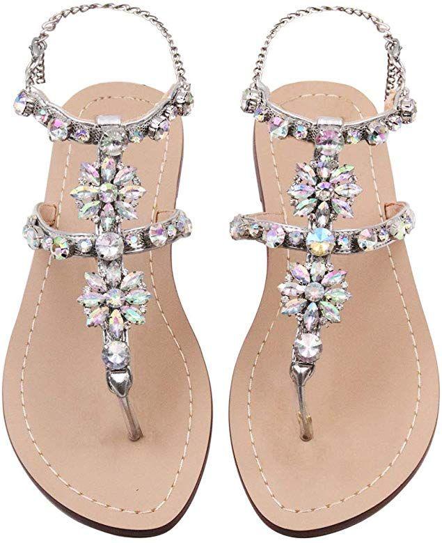 Women Sandals Summer Flat Sandals Crystal Bohemian Flip Flops Female Shoes