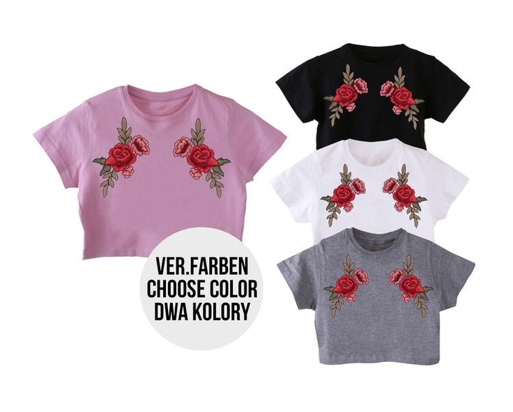 T-Shirts & Sweatshirts - crop top mit rose aufnäher verschiedene Farben - ein Designerstück von MoodyMood bei DaWanda Roses patches on crop top, crop top, roses patches, roses patches on breasts, above breasts, crop top, roses, rose patch