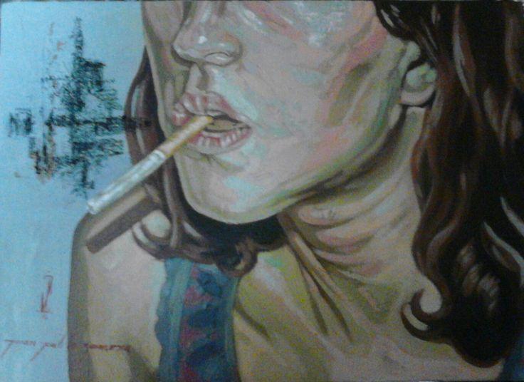 """""""las mujeres que fuman son hermosas"""" Óleo/tela"""