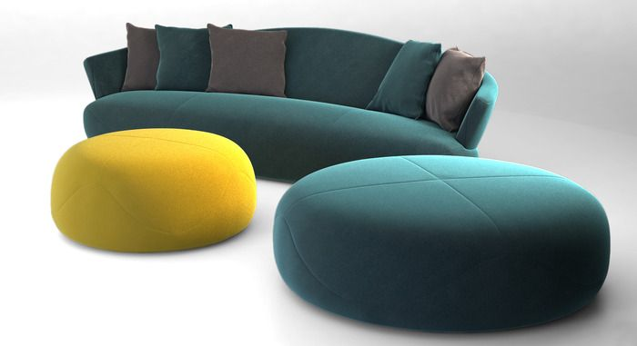 Great pouf for the family room. (Giorgetti SOLEMYIDAE sofa and pouff 3D Model .max .obj)