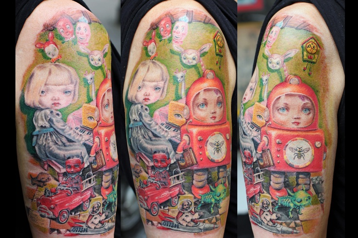 Mark Ryden tattoo by Mirek vel Stotker,Stotker Tattoo , London