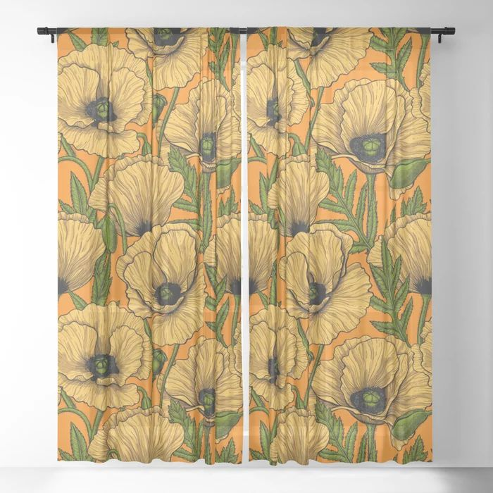 Buy Yellow poppies Sheer Curtain by katerinamitkova ...