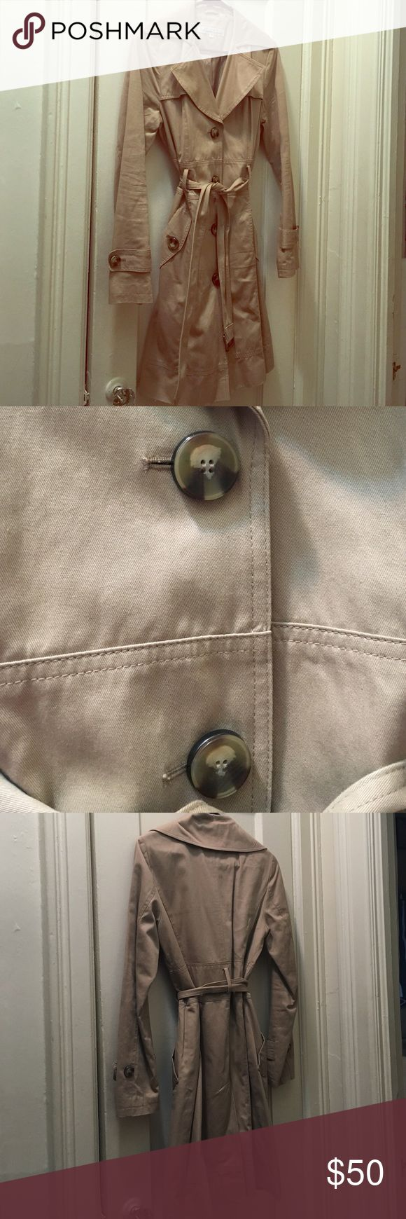 Khaki Trench Classic Trench Coat. Tortoise buttons. Has pockets. Worn once! Kenneth Cole Jackets & Coats Trench Coats