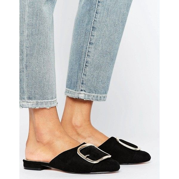 ASOS LOCK Mule Ballet Flats (1,830 INR) ❤ liked on Polyvore featuring shoes, flats, black, black shoes, slip on mules, slip on shoes, slip-on shoes and round toe ballet flats