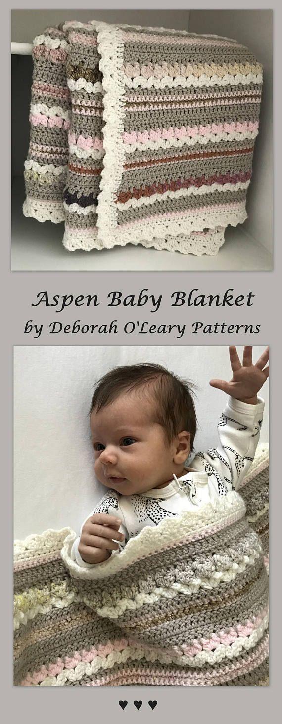 Aspen Baby Blanket by Deborah O'Leary Patterns  #crochet #baby #blanket #pattern
