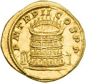Monedas Antiguas: La moneda romana más valiosa del mundo. Reverso: Coliseo P.M.TR.P.II COS.P.P.