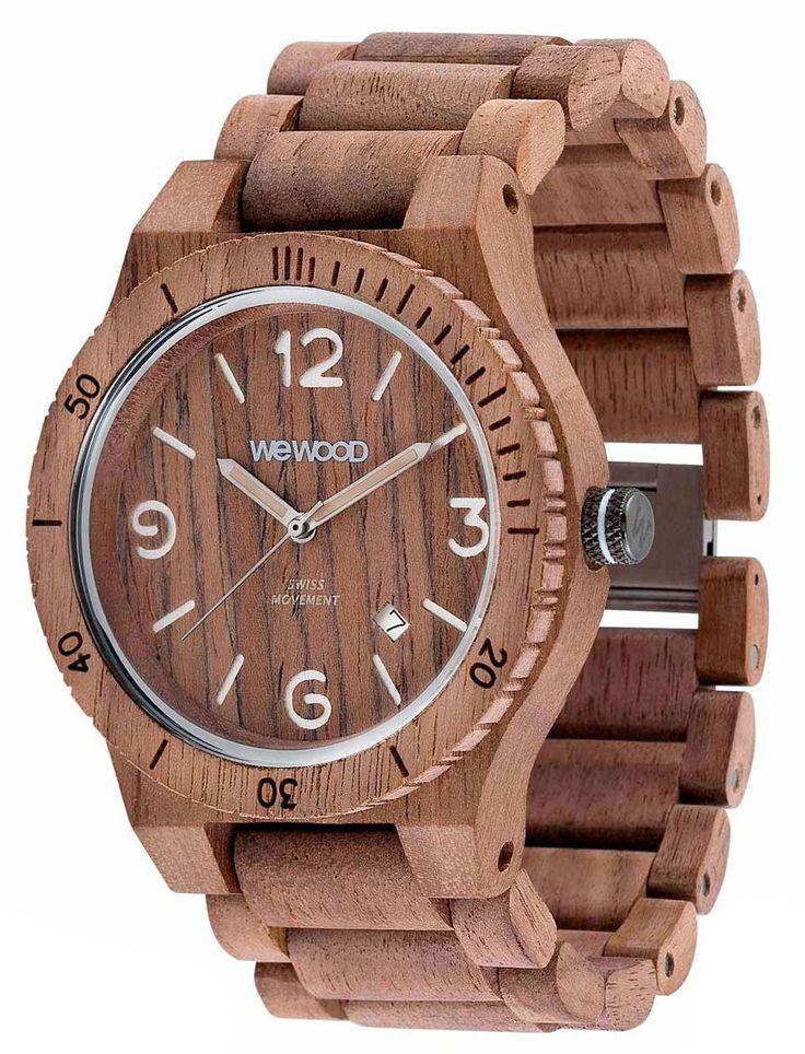 Wewood Holzuhr Alpha SW Nut Rough Herren Armbanduhr WW08009 Herrenuhr, Schweizer Uhrwerk ISASWISS 9232B2 (9232-1930), Holz Uhrengehäuse, Holz-Armband mit Clipverschluß, Durchmesser 45 mm, Höhe 11 mm, Gewicht ca. 56 g, Datumsanzeige