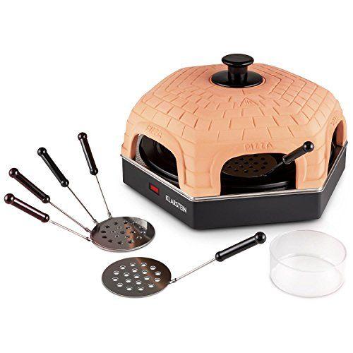 Klarstein Capricciosa Mini four à pizza (style raclette, puissance de 1200W, dôme en terracotta, pour 6 personnes, accessoires, plaque de…