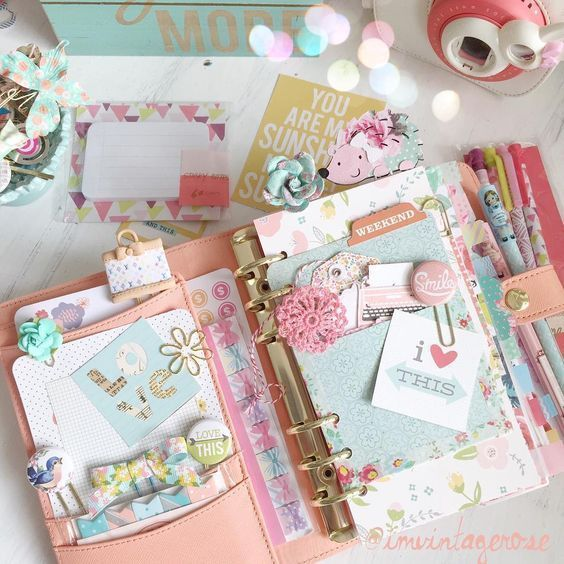 Planner, shabby chic, pretty, paper clips, Filofax, kikki k, filofaxing, planner love: