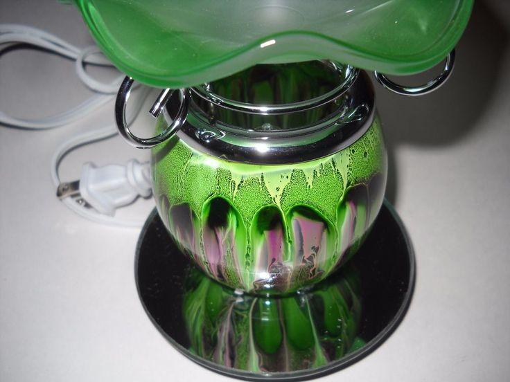 Luxury Fragrance Green and Purple Glass Electric Oil Warmer Lamp #LuxuryFragranceLamp