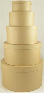 The extra large round paper mache box set has 5 sizes of boxes that nest into the largest box.  The sizes of the boxes are approximately  8 inches x 3 inches deep, 9 inches x 4.75 inches deep,10 inche