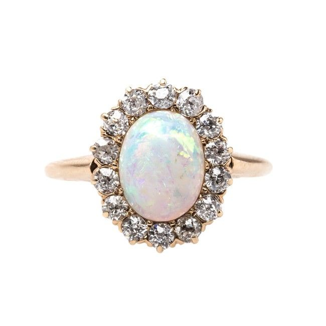 Victorian Opal Engagement Ring with Old Mine Cut Diamond Halo | Lindenwald from…