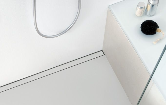 Shower With Linear Floor Drain With Frosted Glass
