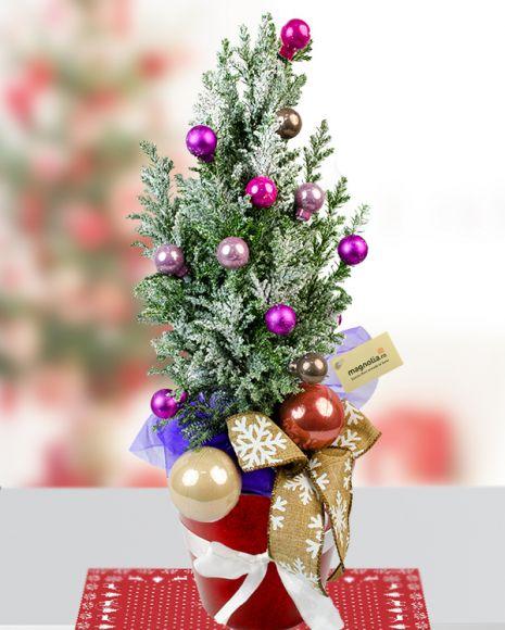 Brăduț mov înzăpezit Little christmas tree