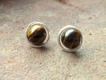 echte Edelstein-Ohrringe Silber 925 mit Tigerauge