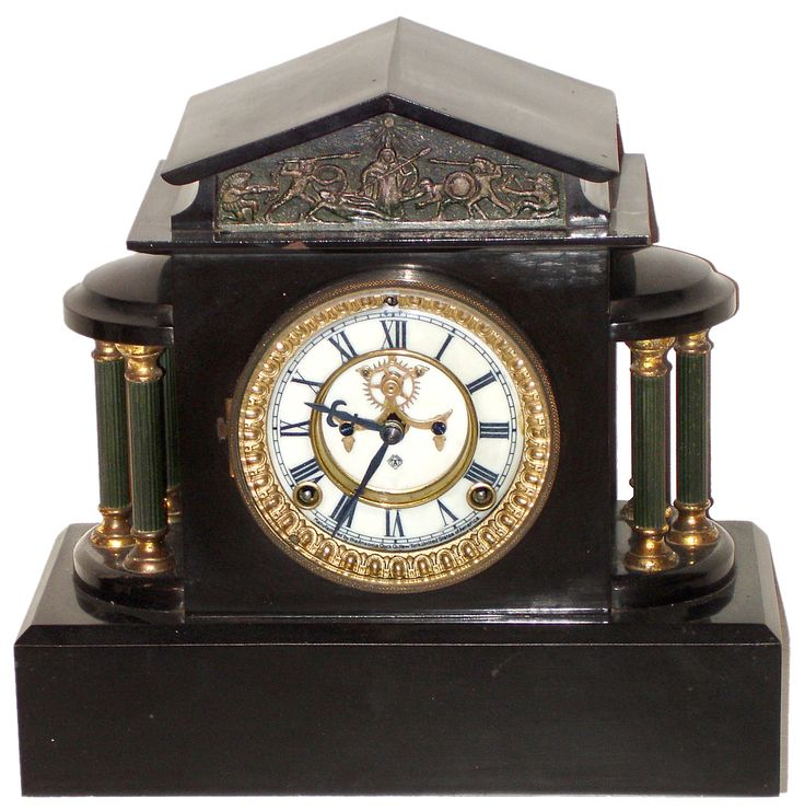 Antique Black Mantle Clock---- Ansonia