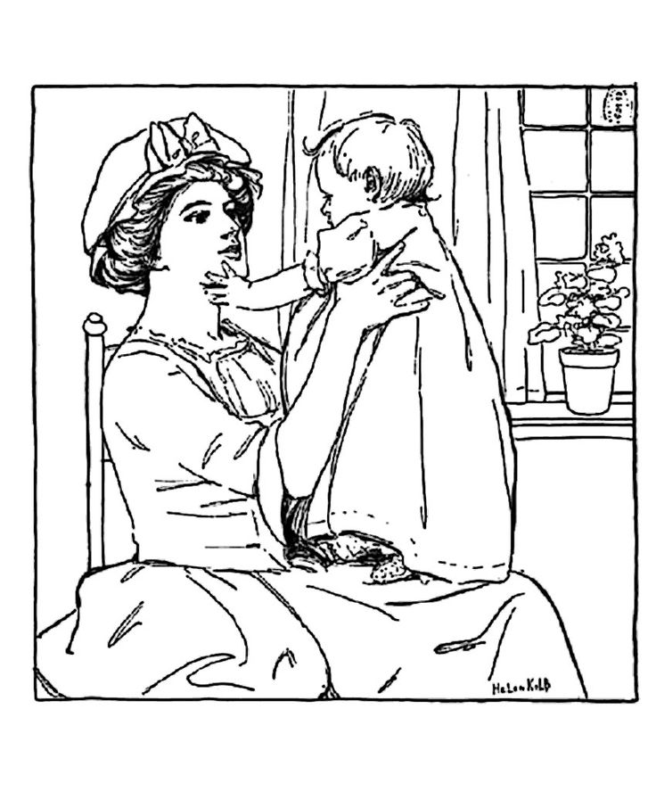 Free Coloring Page Adult Vintage Drawing Mother And Girl