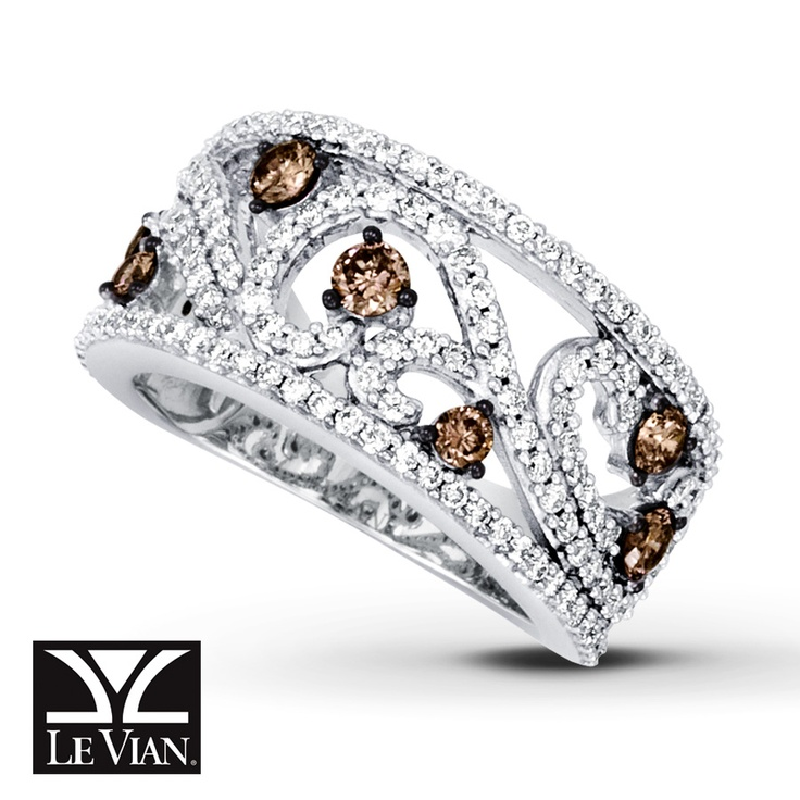 Le Vian CHOCOLATE DIAMONDS® RING 1 1/3 CTTW ROUND CUT 14K VANILLA