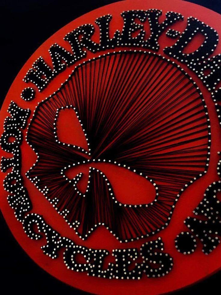 harley davidson string art orange black motorcycle  cincinnati custom string art order