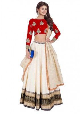 Bollywood Replica - Mouni Roy In White & Red Lehenga Choli - 60225A