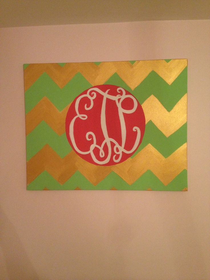 Monogrammed cheveron painting