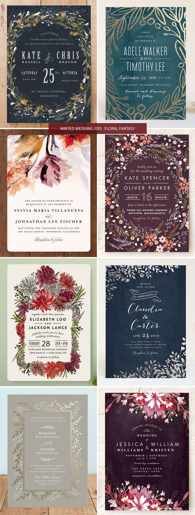 Minted Wedding Invitations 2015 Floral Fantasy