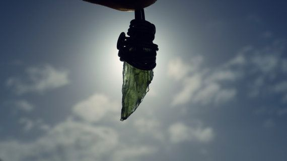 Angel Wing Moldavite Pendant Necklace by CreationOfGaia on Etsy