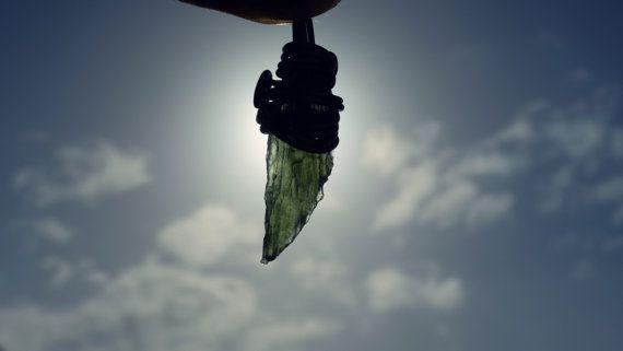 Angel Wing Moldavite Pendant Necklace by CreationOfGaia on Etsy